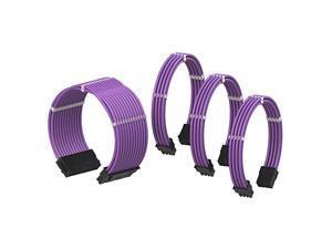 PSU Cable Extension Sleeved Custom Mod GPU PC Power Supply Braided wComb Kit | 1x 24 P 20+4 | 1x 8 P 4+4 CPU | 2X 8 P 6+2 GPU Set | 50CM 500MM Purple