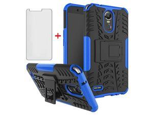 Case for LG Stylo 3 and Stylo3 Plus with Tempered Glass Screen Protector Cover Stand Hard Rugged Hybrid Protective Cell Accessories LGstylo3 3+ Stylus 3Plus LS777 LGL84VL L84VL Cases Black Blue
