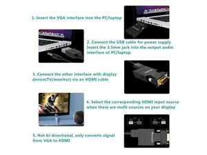 VGA to HDMI Adapter Converter with AudioPC VGA Source Output to TVMonitor with HDMI Connector Active Male VGA in Female HDMI 1080p Video Dongle adaptador for ComputerLaptopProjector