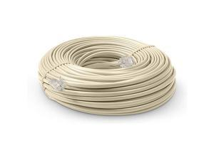 Line Cord 100 Feet Modular TeleExtension Cord 100 Feet 2 Conductor 2 pin 1 line Cable Works Great with FAX AIO and Other Machines Ivory