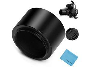 Tele Metal Screw-in Lens Hood Sunshade with Centre Pinch Lens Cap for Canon Nikon Sony Pentax Olympus Fuji Sumsung Leica Camera + Cleaning Cloth