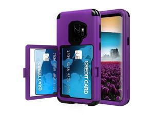 Sumsung Galaxy S9 Case Galaxy S9 Case Shockproof HeavyDuty Protective Hybrid Cover with Card Slot Holder and Opened Back Mirror Kickstand Case for Samsung PurpleB