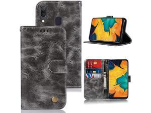 Galaxy A30 Case Galaxy A20 Case for Girls  PU Leather Wallet Flip Folio Protective Phone Case Cover with Card Slots and Stand for Samsung Galaxy A30A20 Grey