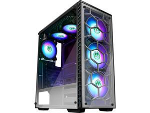 ATX Mid Tower Gaming Computer Case 6 RGB LED Fans 2 Translucent Tempered Glass Panels USB 30 PortCable ManagementAirflow Gaming Style Window Case 903N6