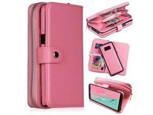 Galaxy S8 Plus Wallet Cases Large CapacityMagnetic Detachable  2 in 1 Zipper Pocket PU Leather Flip Wallet Case with Wrist Strap HV Stand Cards Holder for Galaxy S8 PlusPink