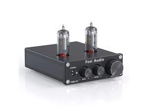 P1 Tube PreAmplifier Mini HiFi Stereo Buffer Preamp 6K4 Valve amp Vacuum Preamp with Treble amp Bass Tone Control for Home Theater System