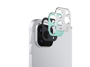 Camera Lens Cover Fit New iPad Pro 12.9 2021/2020, iPad Pro 11 2021/2020, [3-Pack] Slim Metal Rear Camera Lens Protector, Matte Hollow Aluminium Alloy Film Cover, Black + Silver + Green