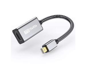 DisplayPort to HDMI Adapter ITANDA Nylon Braided GoldPlated MDP to HDMI Adapter for HP ThinkPad AMD NVIDIA Desktop and More Male to Female Space Grey Grey