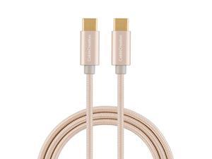 USB C to USB C Cable 10ft 60W Braided USBC to USBC 3A Fast Charger Cable Compatible with MacBook Pro Galaxy S20S10S9S9+ Pixel 3XL Nexus 5X 6P etc Gold