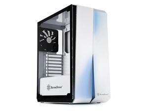 ATX Computer Case with Full Tempered-Glass Side Panel in White with Blue LEDs SST-RL07W-G