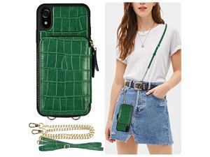 iPhone XR Wallet Case  iPhone XR Zipper Case with Credit Card Holder Slot Crossbody Chain Strap Purse Shockproof Protective Crocodile Grain Leather Case Cover for Apple iPhone XR 61 inch Green