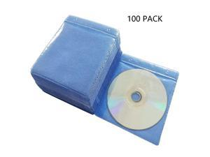 100 Pack Premium CD DVD SleevesThick NonWoven Material DoubleSided Refill Plastic Sleeve for CD and DVD Storage Binders Disc Case Blue