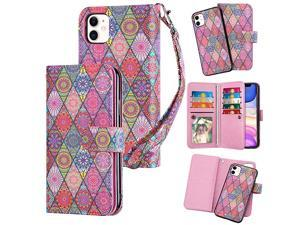 Case for iPhone 11 Wallet Cases with Card Holder 9 Slots Detachable PU Leather Flip Cover Shockproof Magnetic Clasp Lanyard Dual Layer Wallet Case for iPhone 11 iPhone XI Ethnic Pink