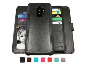 Galaxy S9 Plus CasesMagnetic Detachable Lanyard Wallet Case with 8 Card Slots+1 Photo WindowKickstand for Galaxy S9 Plus  2 in 1 Premium Leather Removable TPU CaseBlack