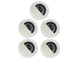 """CSic84 Frameless 8"""" in Ceiling 5 Speaker Set 3 Way Home Theater Speakers, White, (Model: CSic84-5S)"""