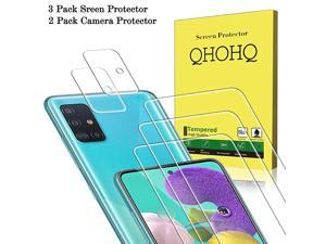 3 Pack Screen Protector for Samsung Galaxy A51Galaxy A51 5G with 2 Pack Camera Lens ProtectorTempered Glass Film 9H Hardness HD 25D Edge AntiFingerprint AntiScratch