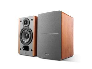 P12 Passive Bookshelf Speakers 2Way Speakers with Builtin WallMount Bracket Wood Color Pair Needs Amplifier or Receiver to Operate