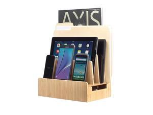 Bamboo Charging Station amp Multi Device Organizer Slim Version for Smartphones Tablets and Laptops
