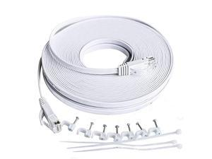 6 Ethernet Cable 25 ft Solid Flat Internet Cords Network LAN Patch Cables Faster Than CAT5E5 White Slim 6 High Speed Computer Wire with Snagless Rj45 Connector for Router Modem