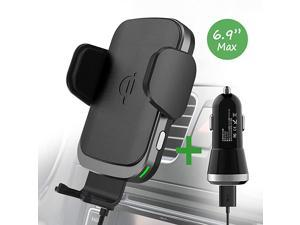 Wireless Charger Car Mount for iPhone 11ProMax iPhone SE XSX Note 10Plus Note 9 S10+S10 Fast Charging Auto Clamp Qi Phone Holder for VentWindshieldDashboard by QC Adaptor Included