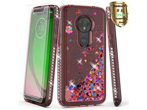 Moto G7 Play Case with Tempered Glass Screen Protector 2 Pack Glitter Liquid Waterfall Flowing Sparkle Shiny Diamond Girls Cute Phone Case for Motorola Moto G7 Paly57quotAX Rink