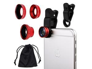 3in1 Cell Phone Camera Lens Kit for Smartphones Including Fish Eye Lens 2 in 1 Macro Lens Wide Angle LensClipCarry PouchMicrofiber Cleaning Cloth