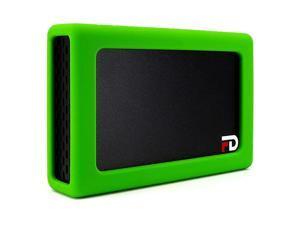 FD Duo Mobile 2 Bay RAID Aluminum Enclosure Silicone Green Bumper AddOn DMR000ERG by