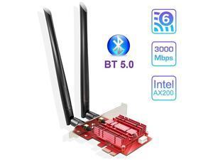 WiFi 6 Card Bluetooth 50 with Heat Sink PCIe Network Card AX 3000Mbps AX200 80211AX 24Ghz58Ghz Wireless PCI Express WiFi Adapters Dual Band Antenna for Windows 10 64bit