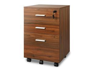 Mobile File Cabinet with Interlock System 3Drawer Wood Office Cabinet Fully Assembled Walnut