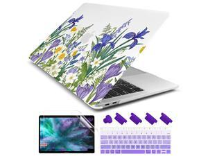 """for New MacBook Air 13 Inch Case 2018 2019 2020 Release A2337 M1/A2179/A1932, Frosted Matte Clear Hard Shell Cover for MacBook Air 13"""" with Retina Display & Touch ID (Meadow & Floral)"""