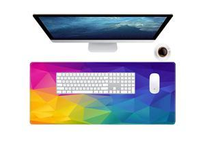 Gaming Mouse Pad Cool Flash Pattern XXL XL Large Mouse Pad Long Extended Mousepad Desk Pad NonSlip Rubber Mice Pads Stitched Edges Thin Pad 315x118x008 Inch Galaxy