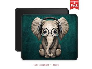 Mouse Pads 2Pack with Stitched Edges PremiumTextured Mouse Mat Pad NonSlip Rubber Base Mousepad for Laptop Computer 102×83×012 inches Cute Elephant + Black