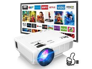 HI04 Mini Projector Outdoor Movie Projector with 100Inch Projector Screen 1080P Supported Compatible with TV Stick Video Games HDMIUSBTFVGAAUXAV Latest Upgrade