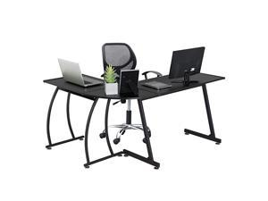 58 x 44 inches LShape Corner Computer Gaming Desk Wood Writing Studying Table with Round Corner Large PC Laptop Workstation 3Piece Modern Desk Black Home Office Furniture