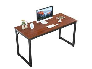 55 Computer Desk Modern Sturdy Office Desk 55 Inch PC Laptop Notebook Study Writing Table for Home Office Workstation Teak