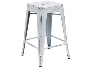 Commercial Grade 24quot High Backless Distressed White Metal IndoorOutdoor Counter Height Stool