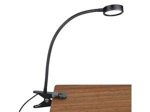 New Version Metal Clip On Light Flexible Bed Light with 3 Colors x Stepless Adjustable Brightness Eye Caring Reading Light for Desk Bed Headboard and ComputersBlackNo AC Adapter