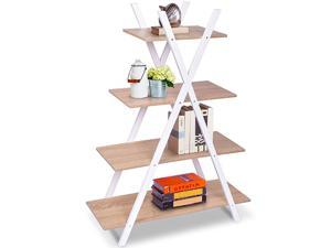 4 Tier Bookshelf Storage Shelves Bookcase Ladder Shelf Home Office XShape Potted Plant or Flower Rack Display Shelves Easy Assembly Natutal and White 315quot LX130 WX429 H