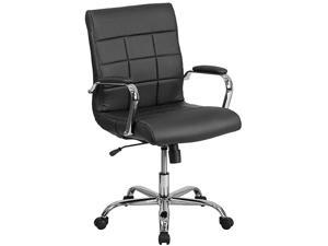 MidBack Green Vinyl Executive Swivel Office Chair with Chrome Base and Arms