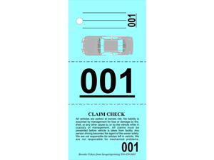 Valet Parking Tickets 1000 Vehicle Claim Tags with Car Diagram Valet Stubs Perforated Auto Key Tags 3 Part Blue Index Stock 110Lb Numbered 000999 by  1000