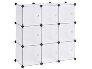 Cube Storage Organizer 9Cube DIY Plastic Closet Cabinet Modular Bookcase Storage Shelving with Doors for Bedroom Living Room Office 366 L x 122 W x 366 H Inches White ULPC116WSV1