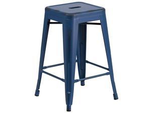 Commercial Grade 24quot High Backless Distressed Antique Blue Metal IndoorOutdoor Counter Height Stool