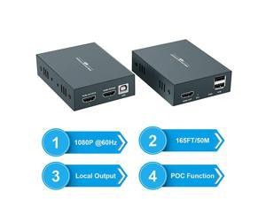 HDMI KVM Extender 1080P @ 60Hz Over Single Cat5E/6/7 Ethernet Cable Up to 50m/165ft with Loop Out & POC Function - USB Keyboard Mouse Support