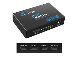 HDMI Splitter 1 in 4 Out - 4K Hdmi Splitter 1x4 Ports(Upgrade) Powered HDMI Splitter Supports 3D 4K@30HZ 1080P for Xbox PS4 PS3 Fire Stick Roku Blu-Ray Player (1 Input 4 Outputs)
