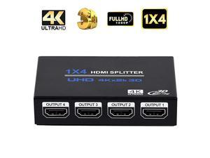 HDMI Splitter, 1 in 4 Out HDMI Splitter Audio Video Distributor Box Support 3D & 4K x 2K Compatible for HDTV, STB, DVD, PS3, Projector Etc
