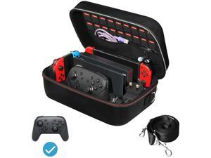Carrying Storage Case for Nintendo Switch/Switch OLED Model (2021), Portable Travel All Protective Hard Messenger Bag Soft Lining 18 Games for Switch Console Pro Controller & Accessories Black