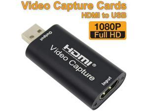 HDMI Video Capture Card, Aluminum HDMI to USB 1080p Audio Video Capture Card, Full HD Recording, Connect DSLR, Camcorder, or Action Cam to PC or Mac for High Definition Acquisition, Live Broadcasting