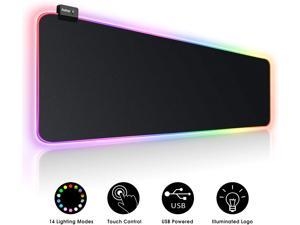 RGB Soft Gaming Mouse Pad Large, Oversized Glowing Led Extended Mousepad ,Non-Slip Rubber Base Computer Keyboard Pad Mat
