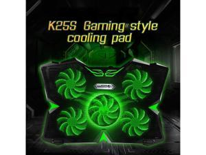 """Laptop Cooling Pad, Laptop Cooler with 5 Quiet Red LED Fans for 12""""-17"""" Inch Laptop, Dual USB 2.0 Ports, Portable Angle Adjustable Laptop Stand for Gaming Laptop-Green"""
