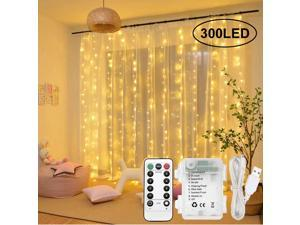 Extremella Goods Window Curtain Lights 3x3m, 300 LED Fairy Lights Warm White, Remote Control with USB Powered or Battery Operated, Water Resistant String Lights 8 Modes for Indoors and Outdoors